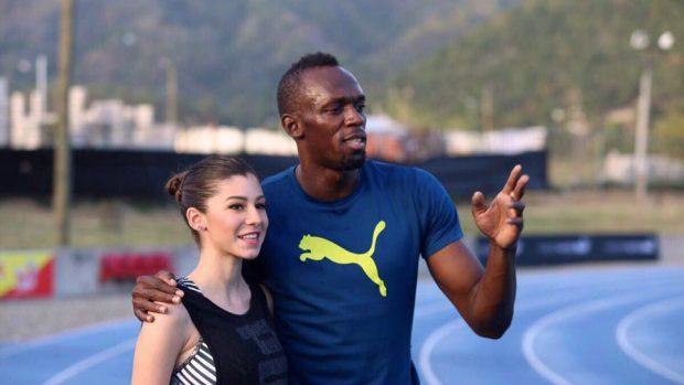 Sara Galimberti con Usain Bolt (facebook)