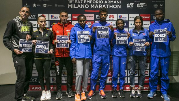 Foto LaPresse -Stefano De Grandis 7/04/2018 Milano EA/ Milano Marathon conferenza stampa Top Runner