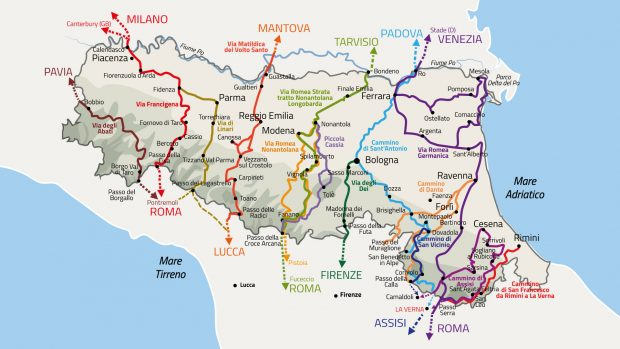 La mappa dei cammini dell'Emilia-Romagna