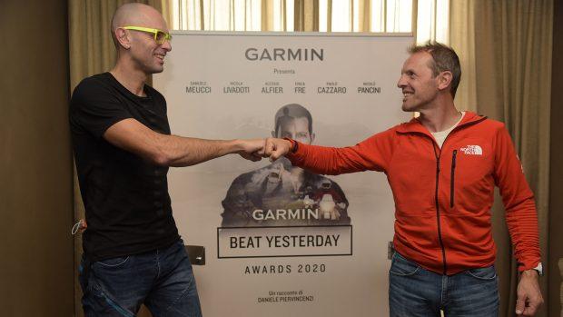 Alessio Alfier e Simone Moro durante i Garmin Beat Yesterday Awards