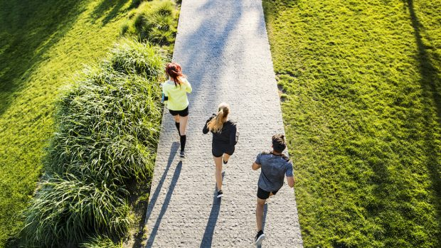 Group of young athletes running on a concrete path in green sunny park. Top view.