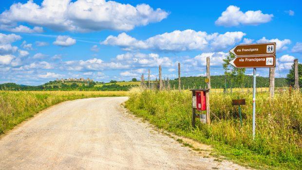 Monteriggioni, route of the via francigena. Siena, Tuscany. Italy